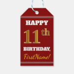 [ Thumbnail: Red, Faux Gold 11th Birthday + Custom Name Gift Tags ]