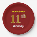 [ Thumbnail: Red, Faux Gold 11th Birthday + Custom Name Paper Plate ]