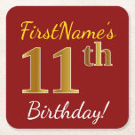 [ Thumbnail: Red, Faux Gold 11th Birthday + Custom Name Paper Coaster ]