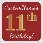 [ Thumbnail: Red, Faux Gold 11th Birthday + Custom Name Sticker ]
