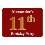 [ Thumbnail: Red, Faux Gold 11th Birthday Party + Custom Name Invitation ]