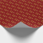 [ Thumbnail: Red, Faux Gold 11th (Eleventh) Event Wrapping Paper ]
