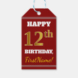 [ Thumbnail: Red, Faux Gold 12th Birthday + Custom Name Gift Tags ]