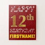 [ Thumbnail: Red, Faux Gold 12th Birthday + Custom Name Puzzle ]