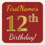 [ Thumbnail: Red, Faux Gold 12th Birthday + Custom Name Paper Coaster ]