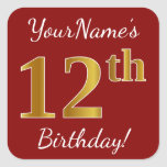 [ Thumbnail: Red, Faux Gold 12th Birthday + Custom Name Sticker ]