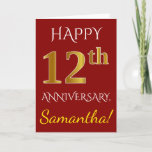 [ Thumbnail: Red, Faux Gold 12th Wedding Anniversary + Name Card ]