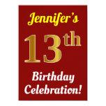 [ Thumbnail: Red, Faux Gold 13th Birthday Celebration + Name Invitation ]