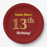 [ Thumbnail: Red, Faux Gold 13th Birthday + Custom Name Paper Plate ]