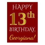 [ Thumbnail: Red, Faux Gold 13th Birthday + Custom Name Postcard ]