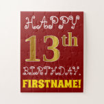 [ Thumbnail: Red, Faux Gold 13th Birthday + Custom Name Puzzle ]