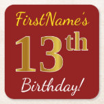 [ Thumbnail: Red, Faux Gold 13th Birthday + Custom Name Paper Coaster ]