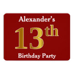 [ Thumbnail: Red, Faux Gold 13th Birthday Party + Custom Name Invitation ]