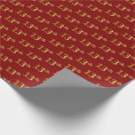 [ Thumbnail: Red, Faux Gold 13th (Thirteenth) Event Wrapping Paper ]