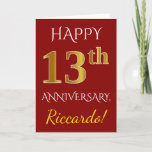 [ Thumbnail: Red, Faux Gold 13th Wedding Anniversary + Name Card ]