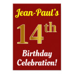 [ Thumbnail: Red, Faux Gold 14th Birthday Celebration + Name Invitation ]