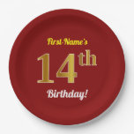 [ Thumbnail: Red, Faux Gold 14th Birthday + Custom Name Paper Plate ]