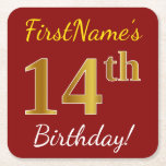 [ Thumbnail: Red, Faux Gold 14th Birthday + Custom Name Paper Coaster ]