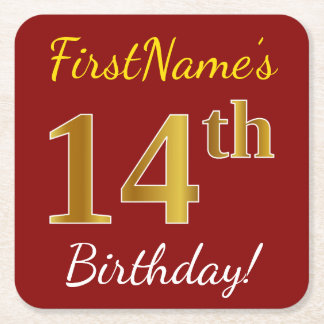 Red, Faux Gold 14th Birthday + Custom Name Square Paper Coaster