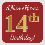 [ Thumbnail: Red, Faux Gold 14th Birthday + Custom Name Sticker ]