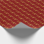 [ Thumbnail: Red, Faux Gold 14th (Fourteenth) Event Wrapping Paper ]