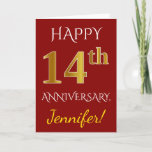 [ Thumbnail: Red, Faux Gold 14th Wedding Anniversary + Name Card ]