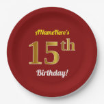[ Thumbnail: Red, Faux Gold 15th Birthday + Custom Name Paper Plate ]
