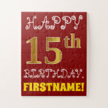 [ Thumbnail: Red, Faux Gold 15th Birthday + Custom Name Puzzle ]