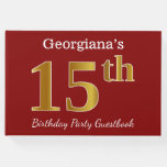 [ Thumbnail: Red, Faux Gold 15th Birthday Party + Custom Name Guest Book ]