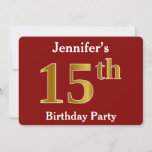 [ Thumbnail: Red, Faux Gold 15th Birthday Party + Custom Name Invitation ]