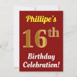 [ Thumbnail: Red, Faux Gold 16th Birthday Celebration + Name Invitation ]