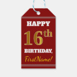 [ Thumbnail: Red, Faux Gold 16th Birthday + Custom Name Gift Tags ]