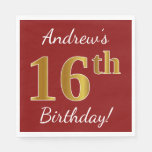[ Thumbnail: Red, Faux Gold 16th Birthday + Custom Name Paper Napkin ]