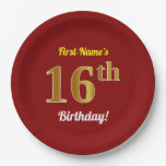 [ Thumbnail: Red, Faux Gold 16th Birthday + Custom Name Paper Plate ]