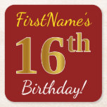 [ Thumbnail: Red, Faux Gold 16th Birthday + Custom Name Paper Coaster ]