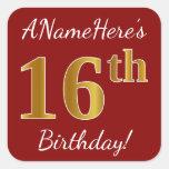 [ Thumbnail: Red, Faux Gold 16th Birthday + Custom Name Sticker ]