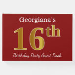 [ Thumbnail: Red, Faux Gold 16th Birthday Party + Custom Name Guest Book ]