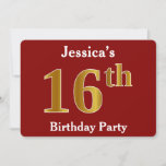 [ Thumbnail: Red, Faux Gold 16th Birthday Party + Custom Name Invitation ]