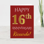 [ Thumbnail: Red, Faux Gold 16th Wedding Anniversary + Name Card ]