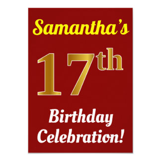 Red, Faux Gold 17th Birthday Celebration + Name Card