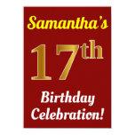 [ Thumbnail: Red, Faux Gold 17th Birthday Celebration + Name Invitation ]
