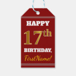 [ Thumbnail: Red, Faux Gold 17th Birthday + Custom Name Gift Tags ]