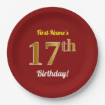 [ Thumbnail: Red, Faux Gold 17th Birthday + Custom Name Paper Plate ]