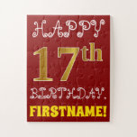 [ Thumbnail: Red, Faux Gold 17th Birthday + Custom Name Puzzle ]