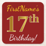 [ Thumbnail: Red, Faux Gold 17th Birthday + Custom Name Paper Coaster ]