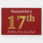[ Thumbnail: Red, Faux Gold 17th Birthday Party + Custom Name Guest Book ]
