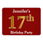 [ Thumbnail: Red, Faux Gold 17th Birthday Party + Custom Name Invitation ]
