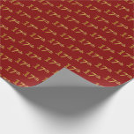 [ Thumbnail: Red, Faux Gold 17th (Seventeenth) Event Wrapping Paper ]