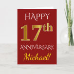 [ Thumbnail: Red, Faux Gold 17th Wedding Anniversary + Name Card ]