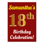 [ Thumbnail: Red, Faux Gold 18th Birthday Celebration + Name Invitation ]